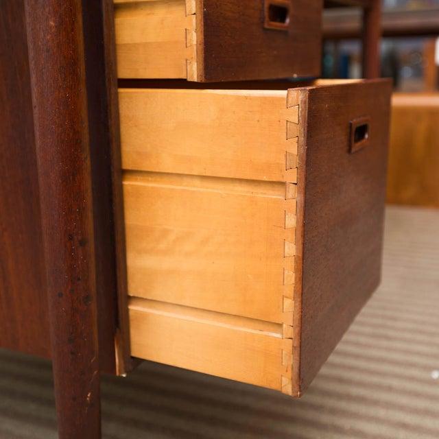 Arne Vodder Style Single Pedestal Drop-Leaf Teak Desk For Sale - Image 4 of 10
