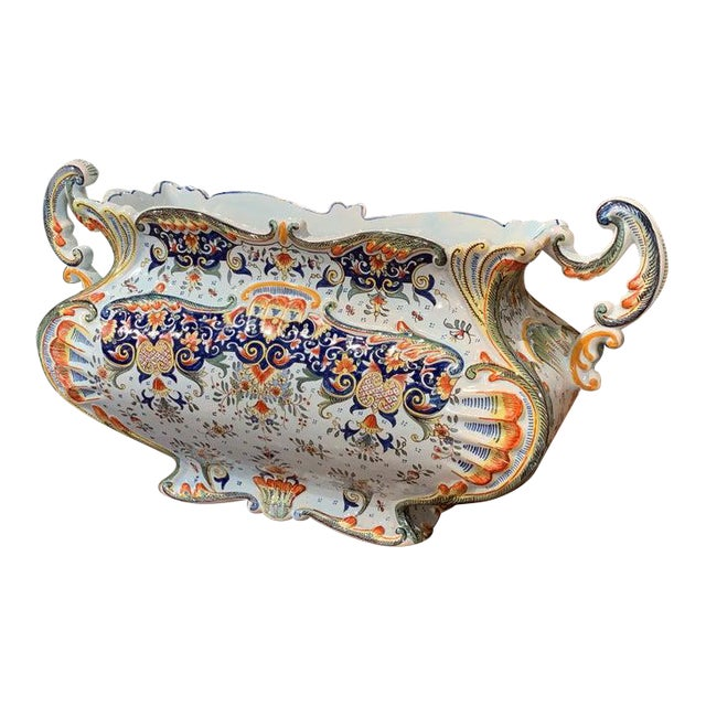Early 20th Century French Hand Painted Faience Jardinière From Normandy For Sale