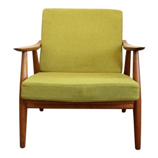 A Pair of 1950s Mid-Century Modern Hans Wegner Light Green Wool Armchairs For Sale