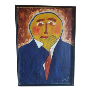 1960s Vintage Thomas DeBaggio Mid-Century Modern Folk Art Inspired Painting For Sale