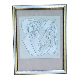 Framed Abstract Face Drawing For Sale