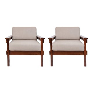 Mid-century Modern Brazilian Armchairs in Jacarand - a Pair For Sale
