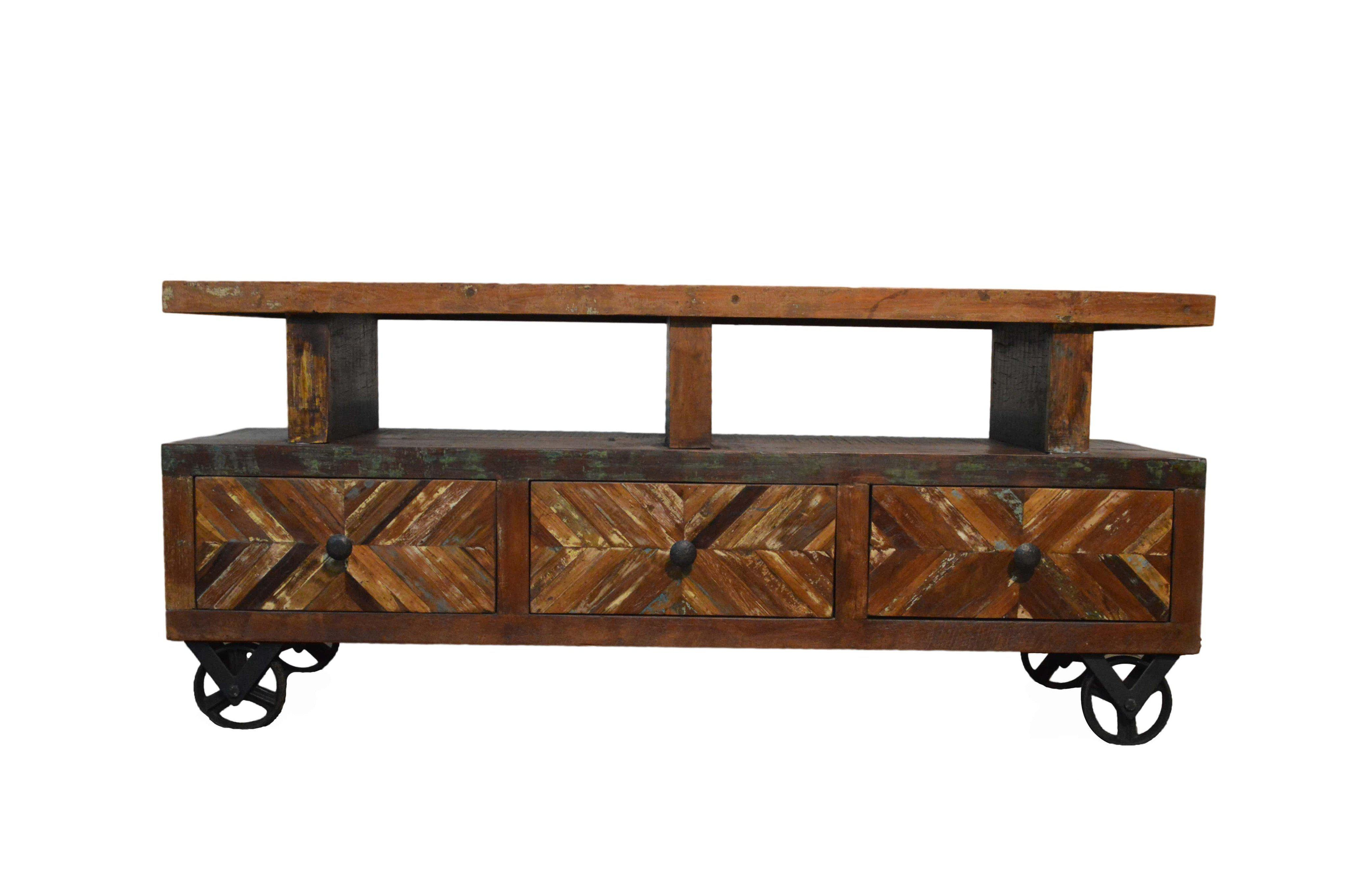 Country Distressed Reclaimed Wood TV Stand For Sale  Image 3 Of Distressed Wood Tv Stand N78