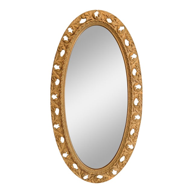 20th Century Italian Gilt Carved Wood Oval Beveled Wall Mirror For Sale