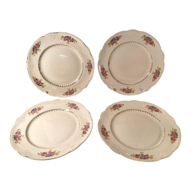 Vintage Homer Laughlin Ivory Floral Dinner Plates - Set of 4 For Sale