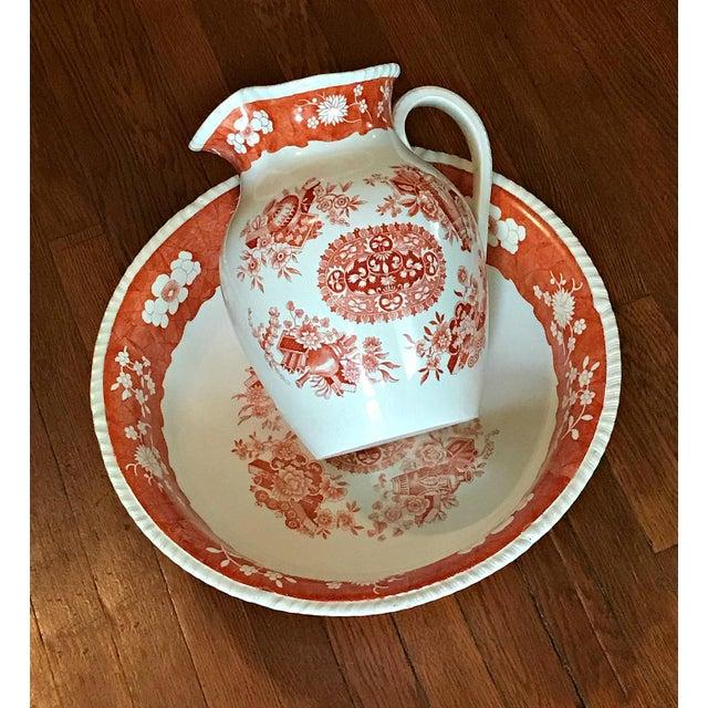 Ceramic Antique 1890s Spode Copeland Red Large Jug Pitcher & Bowl Set - 2 Pc. For Sale - Image 7 of 7