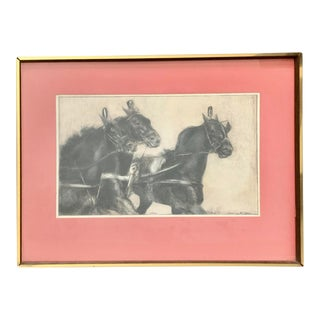 Vintage 1970s Mid-Century Modern Black Horses Print in Original Frame and Pink Matting For Sale
