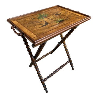 Antique English Olive Wood Painted Serving Tray Tea Table For Sale
