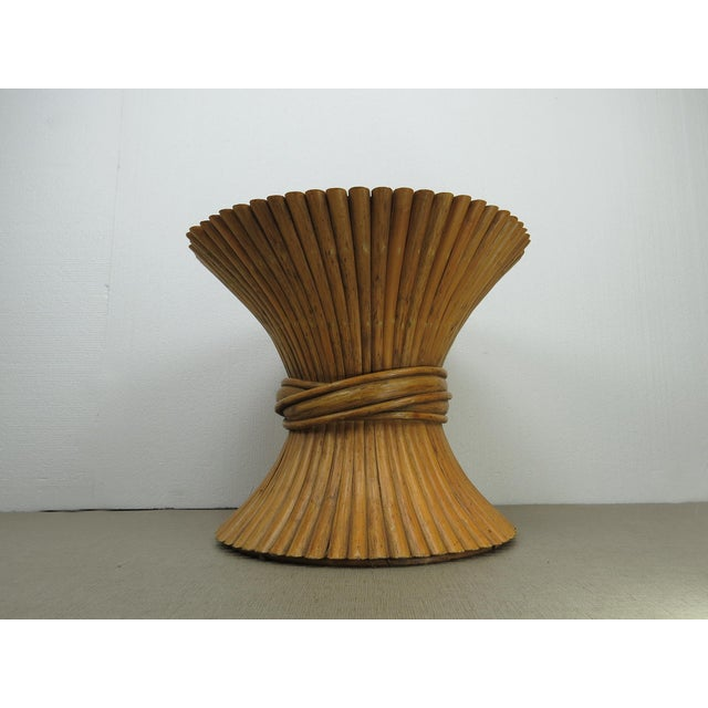 Boho Chic Vintage Hollywood Regency Bamboo Rattan Sheaf of Wheat McGuire Side Table For Sale - Image 3 of 12