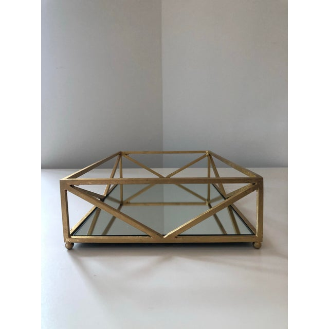 Gold Contemporary Iron Tray With Inset Mirror in Golf Leaf For Sale - Image 8 of 9