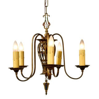 1930's Spanish Revival Five Arm Chandelier For Sale