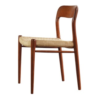 Niels Moller for Model No. 75 Side Chair in Teak w/ Papercord for J.L. Møllers Møbelfabrik, Denmark For Sale