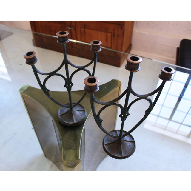 Pair of e.t. Hurley Bronze Three-Arm Candlesticks/Candelabra For Sale - Image 4 of 11