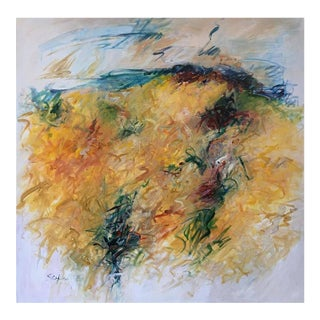 """Contemporary Abstract Acrylic Painting """"Frenzy in Yellow"""" by Mary Lou Siefker For Sale"""