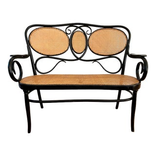 Signed Austrian Bentwood Settee Loveseat Bench by Kohn of Vienna For Sale