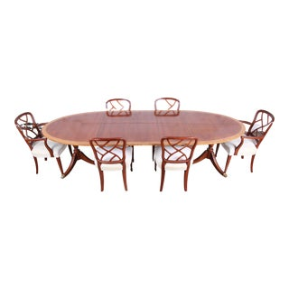 Kindel Furniture Georgian Banded Mahogany Dining Set For Sale