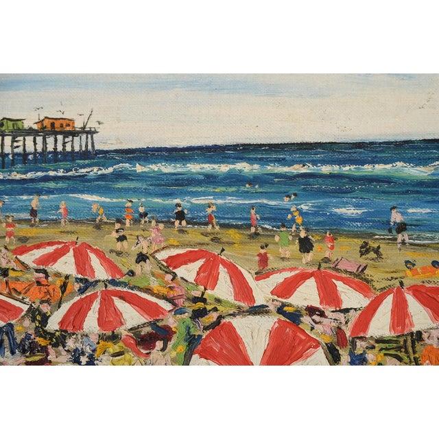 Santa Monica Pier Beach Scene 1950s Oil Painting - Image 5 of 10