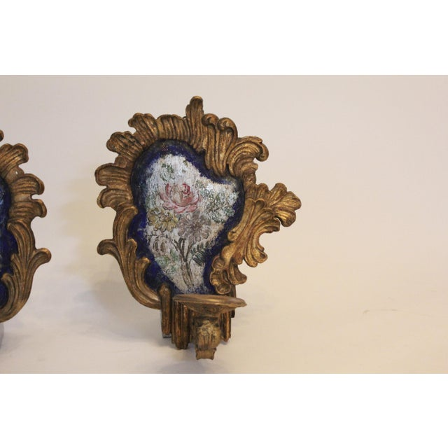 Baroque 19th Century Baroque-Style Blue and Silver Sconces - a Pair For Sale - Image 3 of 6