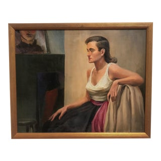 20th Century Realism Oil Painting on Canvas of an Artist's Model For Sale