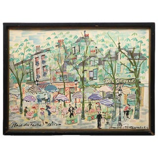 Paris Street Scene Watercolor For Sale