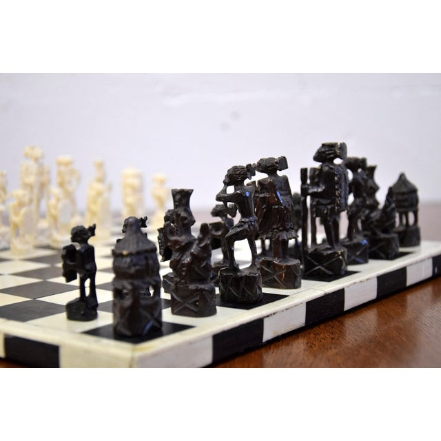 Arts & Crafts 1930 Belgian Congo Ivory Chess Set For Sale - Image 3 of 10