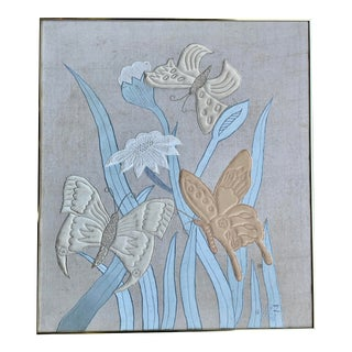 Flowers & Butterflies Tapestry/Framed For Sale