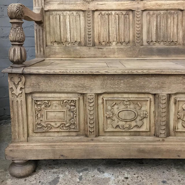 Pair 19th Century Italian Stripped Oak Hall Benches For Sale In Dallas - Image 6 of 13