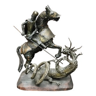 St. George Fighting the Dragon Metal Sculpture