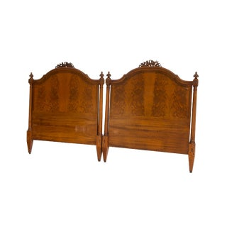 Pair of Antique Twin Headboards in Flame Mahogany by Irwin For Sale