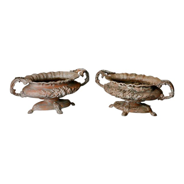 Antique French Chateau Spelter Jardinieres - A Pair For Sale