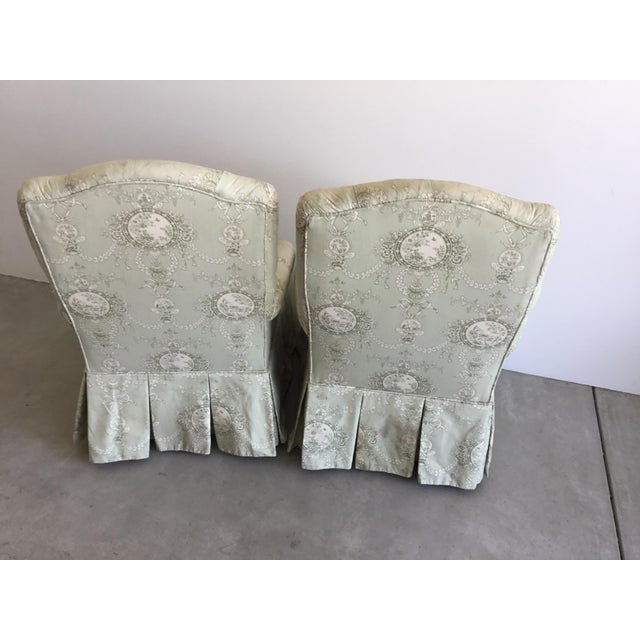 Vintage Rolled Arm Upholstered Chairs - a Pair For Sale In Los Angeles - Image 6 of 9