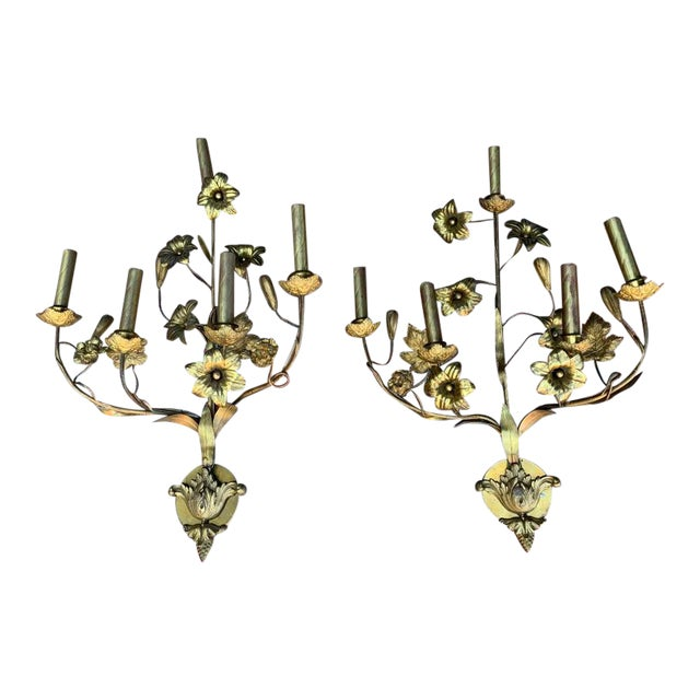 1920 Vintage Italian Brass Vintage Wall Sconce - a Pair For Sale