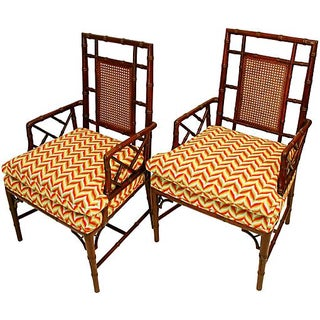 Baker Chinese Chippendale Chairs - A Pair