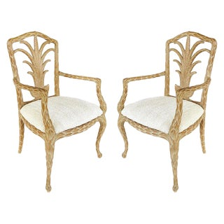 Palm Beach Regency Palm Frond Carved Armchairs - a Pair For Sale