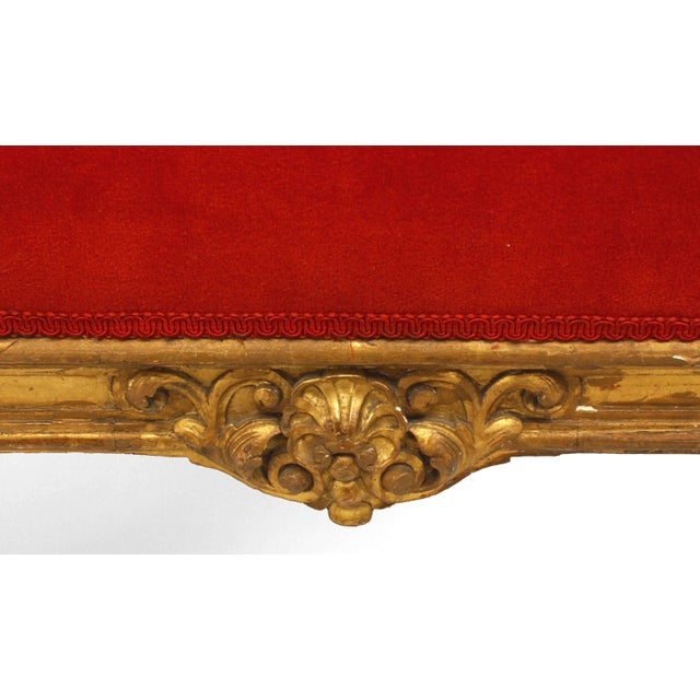 Pair of French Louis XIV Style '19th Century' Carved Giltwood Benches For Sale - Image 4 of 5