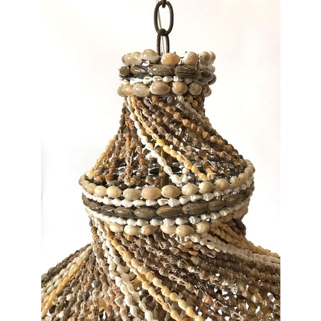 Boho Chic Large 1960s Newly Wired Shell Chandelier For Sale - Image 3 of 8