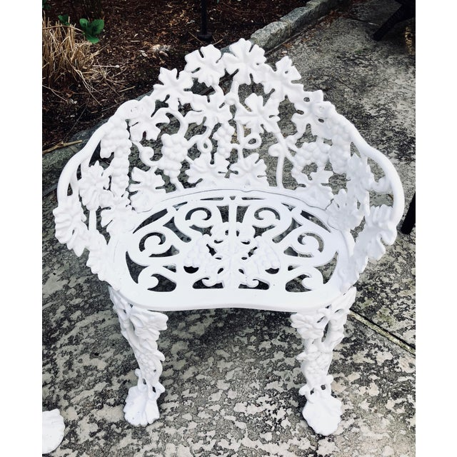 Traditional Antique Victorian Cast Iron Garden Bench & Chair For Sale - Image 3 of 12