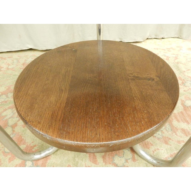1940's French Two Tier Wood and Chrome Round Table For Sale In New Orleans - Image 6 of 7