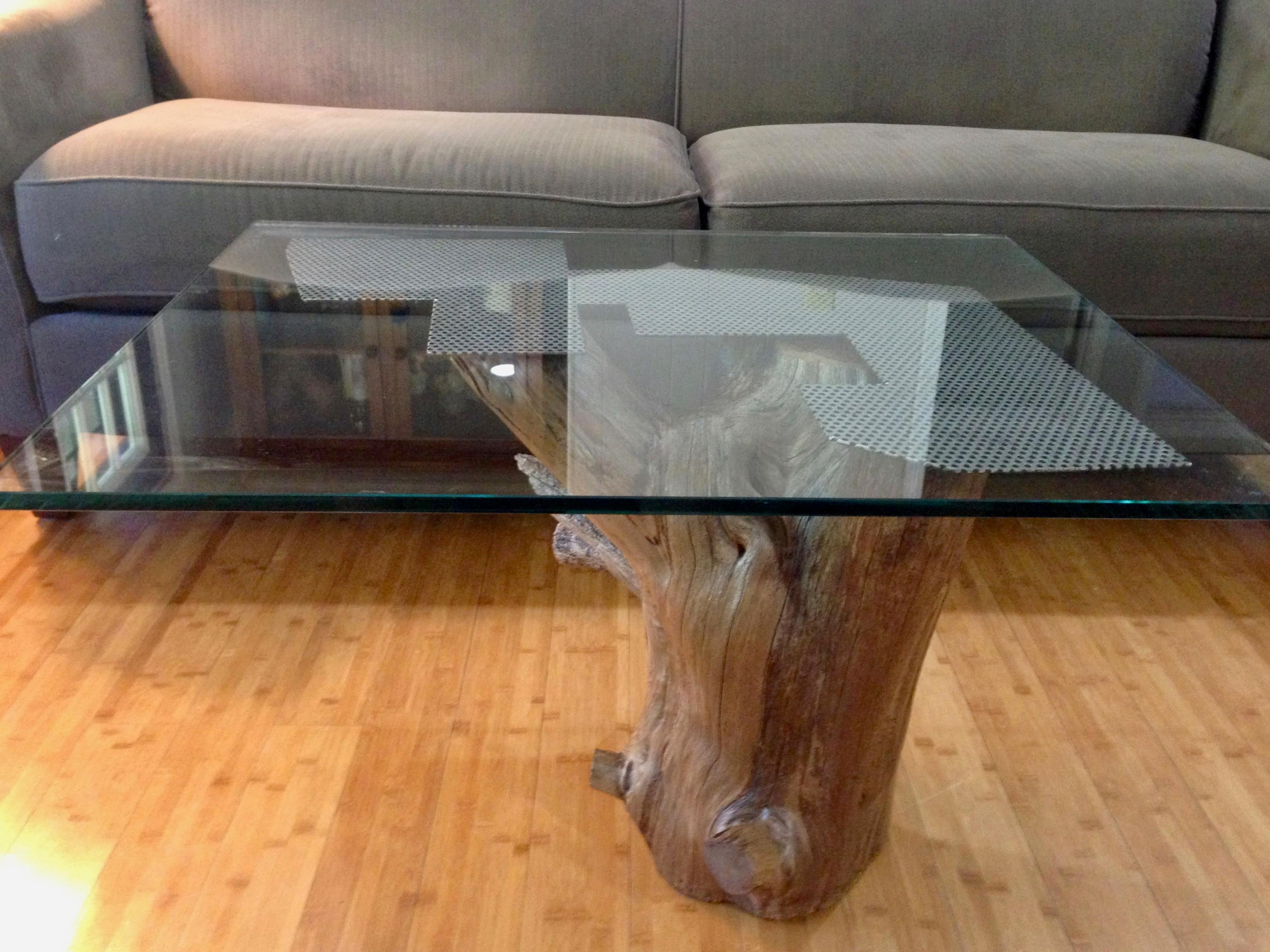 Modern Cedar Wood U0026 Glass Coffee Table   Image 3 ...