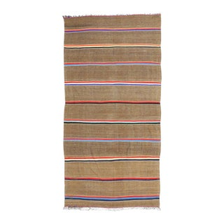 Vintage Berber Moroccan Kilim Rug with Stripes and Nautical Style For Sale