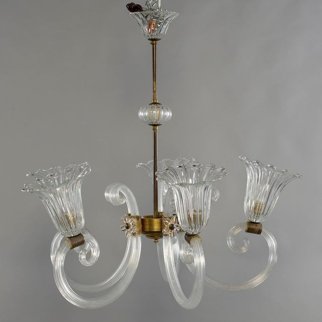 Gold Ercole Barovier Art Deco Clear Blown Glass Chandelier With Brass Fittings For Sale - Image 8 of 8