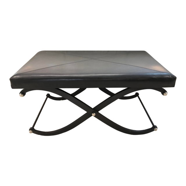 Modern Global Views Iron and Black Leather Ottoman For Sale