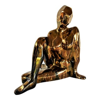 1960s Vintage Jaru Nude Stylized Female Metallic Ceramic Sculpture For Sale