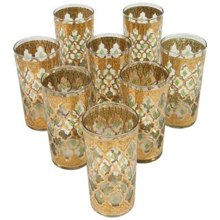 Vintage Set of Eight Culver Highball Glasses With 22-Karat Gold Valencia Design For Sale
