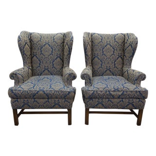 Vintage Damask Pattern Wingback Chairs - A Pair