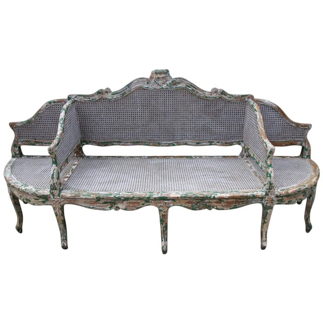 19th C. Painted Carved Wood & Cane 3-Section Sofa For Sale