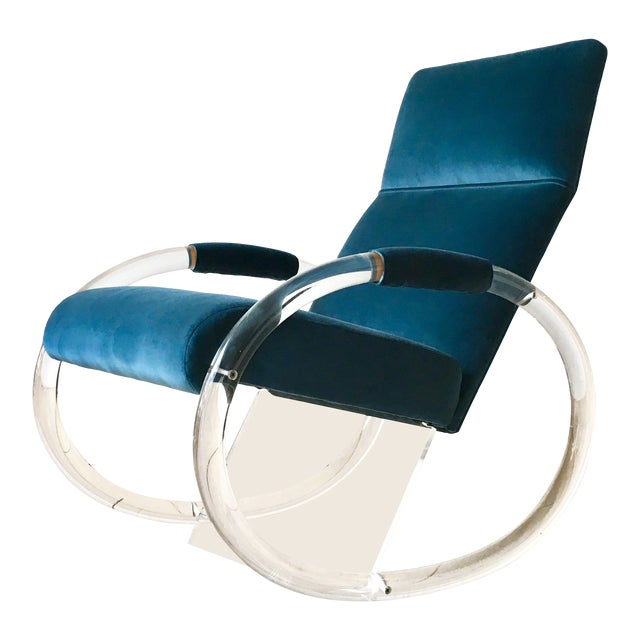 Charles Hollis Jones Designed Lucite Rocking Chair 1970s For Sale