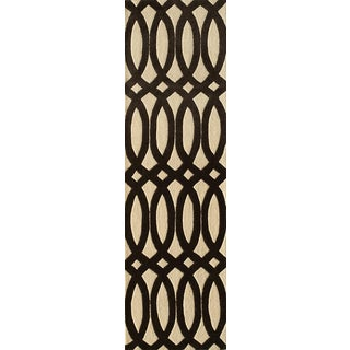 "Contemporary Momeni Delhi Hand Tufted Black Wool Runner - 2'3"" X 8' For Sale"