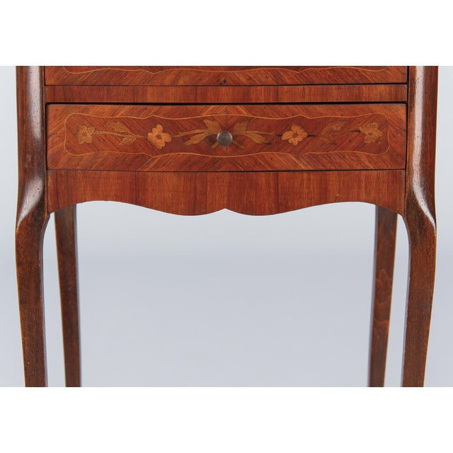 20th Century Louis XV Marquetry Bedside Chest of Drawers For Sale - Image 9 of 13