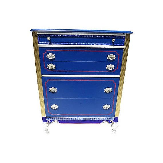 Antique Blue and Red Painted Dresser - Image 1 of 7